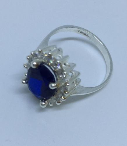 plata zafiro anillo