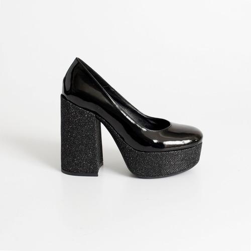plataforma de charol. art urano s/t negro  otro calzado