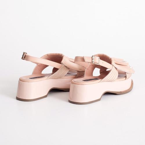 plataforma de cuero. art baru rosa. otro calzado