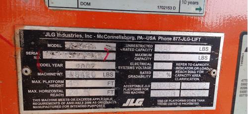 plataforma de elevación 500lb marca jlg modelo 450a año 2007