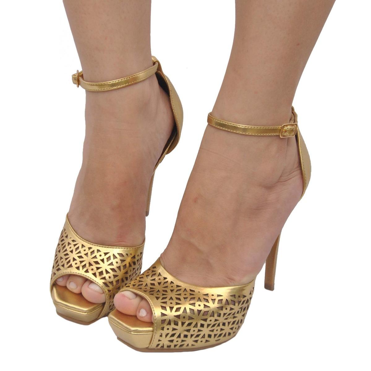 c3a35d8f3 Carregando zoom... sandália feminina peep toe plataforma dourada festa  miucha