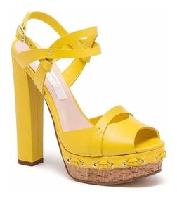 Plataforma Con En De Fiesta Ancho Amarillo Zapatos Y Taco 34LAj5qR