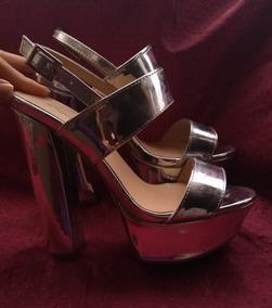 De Zapatos Para Mujer Sandalias Tacon Niñas Plateadas MSVzpU