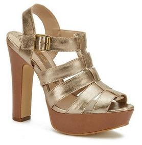 Tacon Color Tiras Ancho Plataforma 5 Mostaza Zapatos 24 De jAL54R