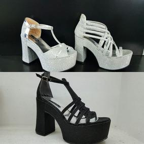 02f98f52 Zapatos Con Taco Brillo Plateado - Ropa y Accesorios en Mercado ...
