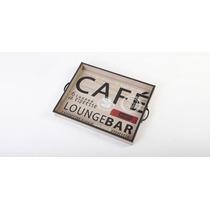 Bandeja De Madera Con Estampas Café