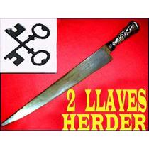 Cuchillo Herder 2 Llaves Cabo Plata Oro Puñal Daga
