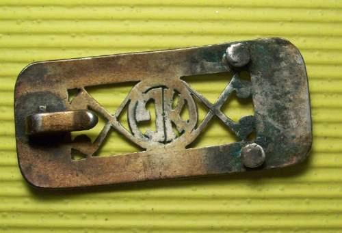 platería criolla hebilla antigua plata y oro 6 x 3 cm.