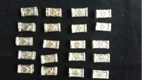 plateria criolla !lote de 20 pasadores oro y plata impecable
