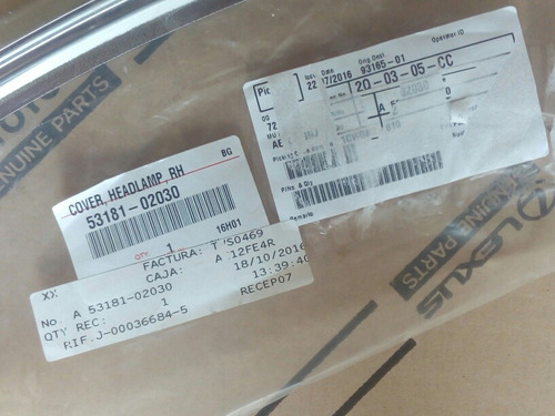 platina moldura faro rh toyota corolla 2015-2016 original