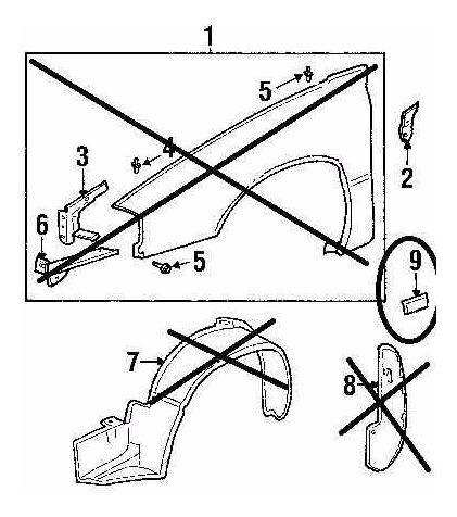 platina moldura pequeña guardafango izquierdo impala 2000/05