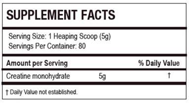 platinum 100% creatina muscletech 400 grs (80 servicios)