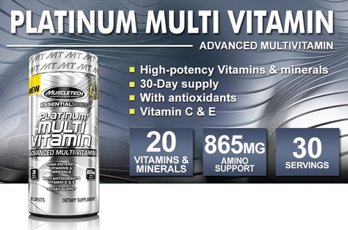 platinum multi vitamin p/ atletas (importado muscletech) 90t