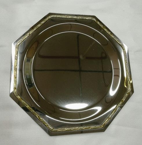 plato acero con modura bronce