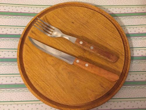 plato algarrobo, asado y cubiertos, parrilla, set kit asador