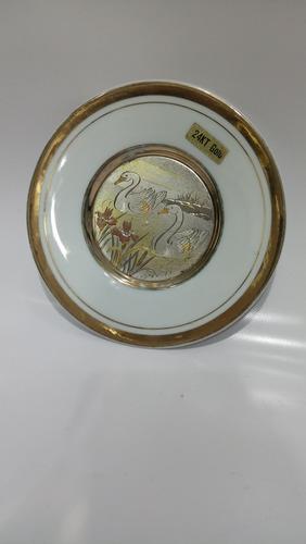 plato antiguo porcelana baño oro mediano japones