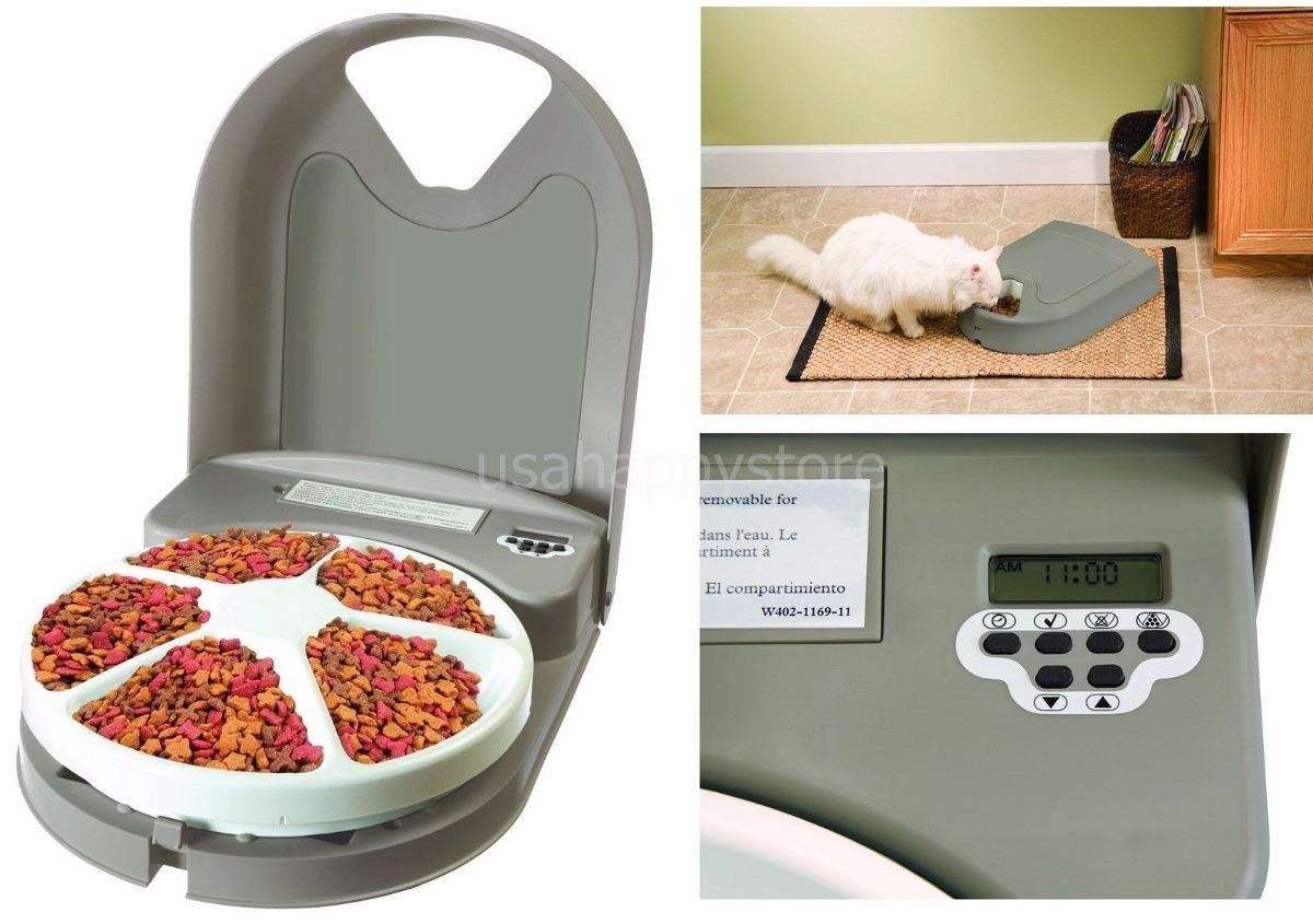 Plato Automatico De 5 Alimentos Para Gatos Y Perros Pequeños S  #A0582B 1200x845 Banheiro De Gato Automatico