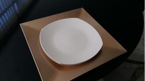 plato base para comedor vajilla color champagne dorado cena