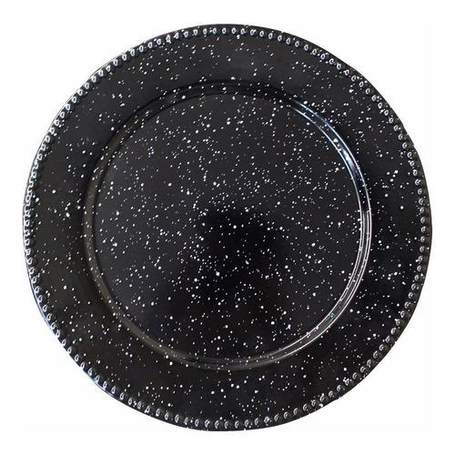 plato base trinche de peltre 32cm negro motas bisa set. 6pz