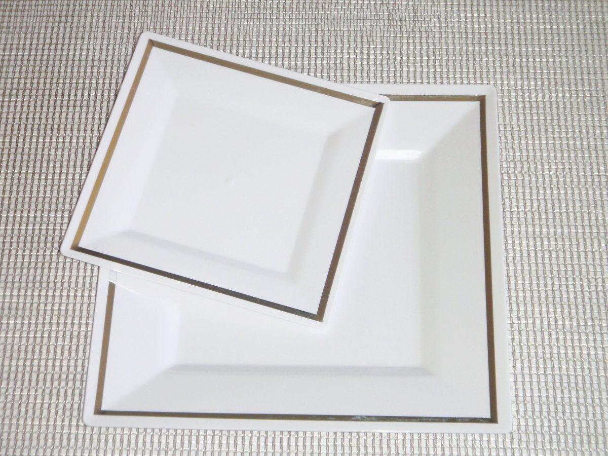 Plato blanco pl stico desechables vajilla cumplea os for Vajillas elegantes