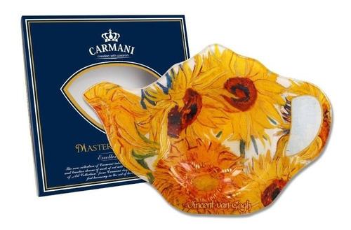 plato bolsa de te los girasoles en cristal 13.8 x...