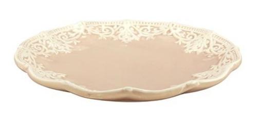 plato ceramica redondo rosa diseño broderie en bordes 21 cm