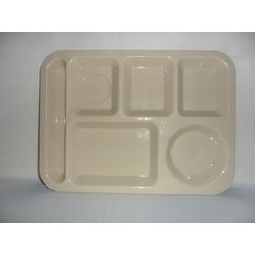 Plato Charola De 6 Divisiones De Plástico De 34.5 Cm 50 Pzs