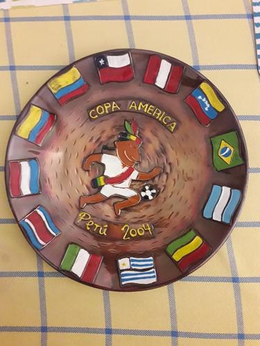 plato cobre colección copa américa peru 2004