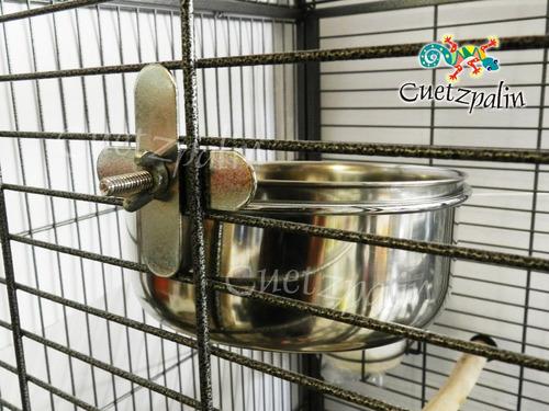 plato comedero de acero inox. gde. p/ loros y otras mascotas