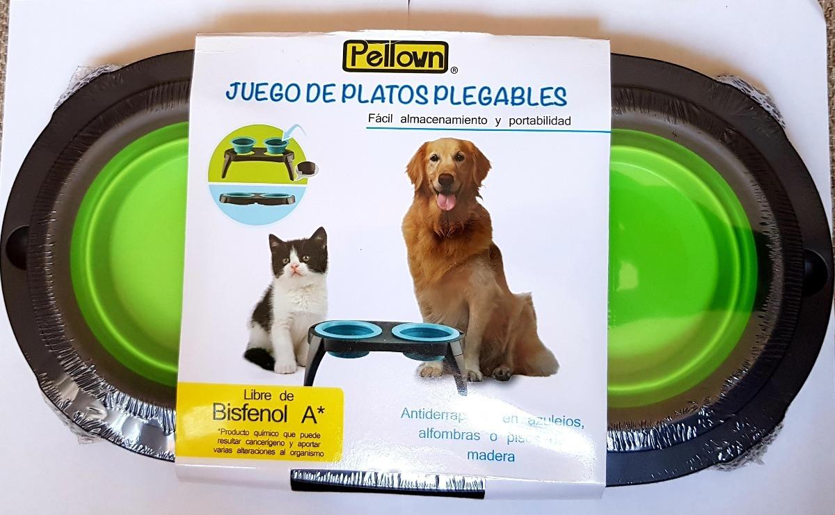 plato comedero para perro y gato plegable doble viaje - $ 200.00 en