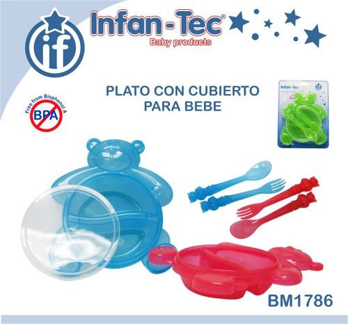 Plato con cubiertos para bebes 140 00 en mercado libre for Cubiertos para bebes