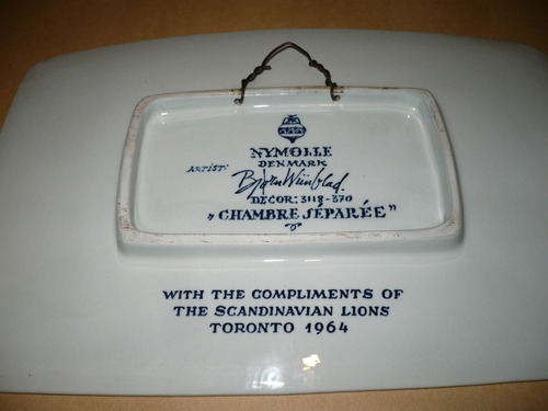 plato conmemorativo lions club toronto 1964