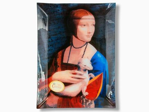 plato cristal rectangular 32x24 cm dama con armiño da vinci