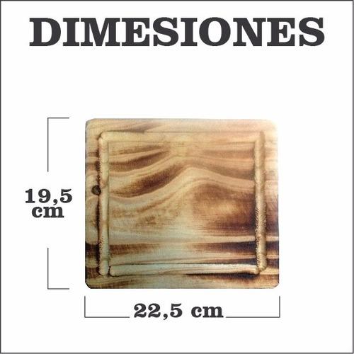 plato cuadrado madera 22x20 tabla asado camping rectangular