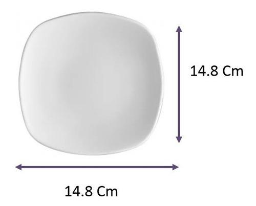 plato cuadrado tipo ceramica loza para taza 14 cm 12 pzas