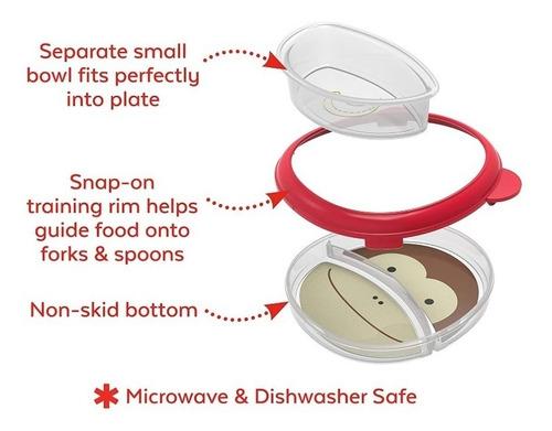 plato cuchara zoo smart  para bebes rojo