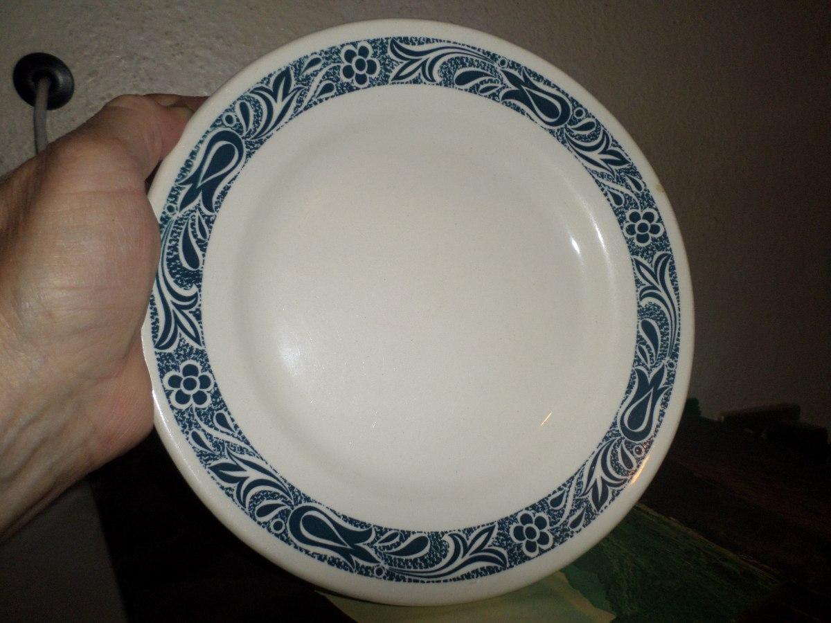 Plato de ceramica marca anfora blanco azul diametro 21cmx3 for Platos de ceramica