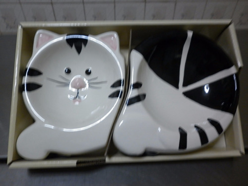 plato de cerámica para gatos comedero doble- no arena