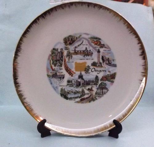 plato de cerámica recuerdo del estado de oregon, usa.