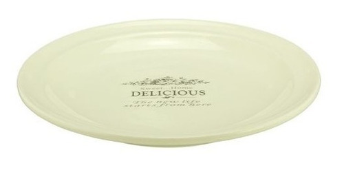 plato  de ceramica redondo de postre con logo