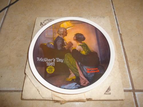 plato de coleccion ceramica norman rockwell dia madres 1981