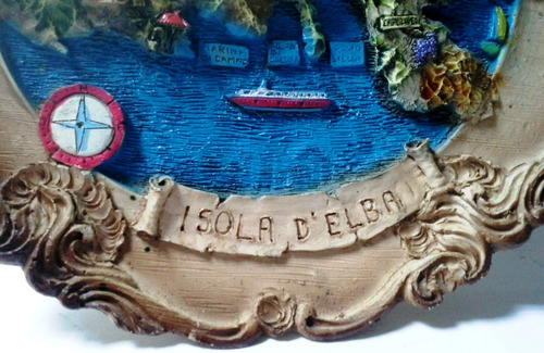 plato de pared souvenir isola d'elba alto relieve