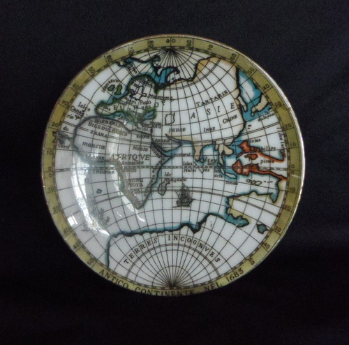 plato de porcelana mapamundi firmado  gibo bav