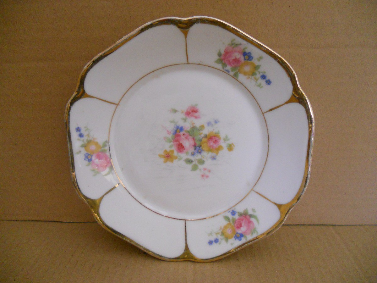 Plato decorado flores borde oro porcelana ma a di metro 0 for Platos porcelana