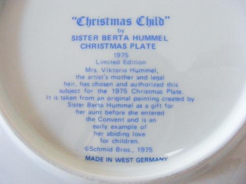 plato decorativo 1975, berta hummel, hecho en alemania
