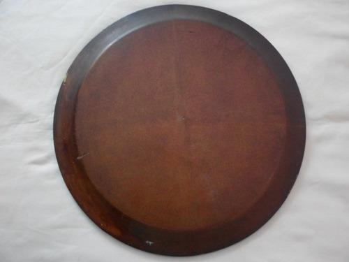 plato decorativo tallado en madera con nacar de japon