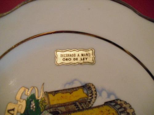 plato español decorado a mano en oro de ley