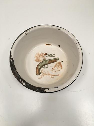 plato hondo antiguo chapa enlozada campo escupidera (lb169)