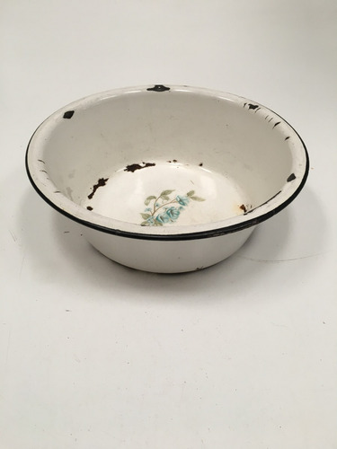plato hondo antiguo chapa enlozada campo escupidera (lb171)