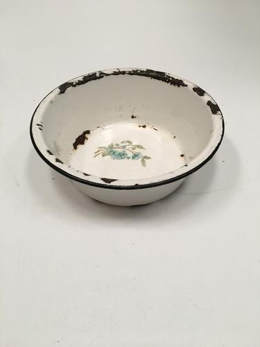 plato hondo antiguo chapa enlozada campo escupidera (lb173)